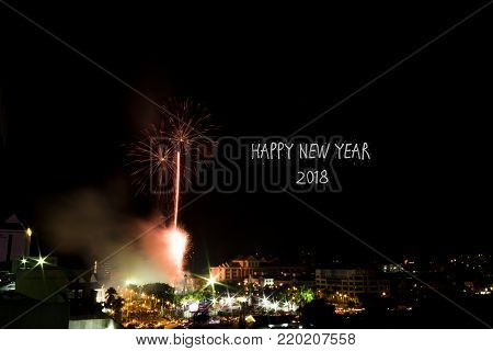 Blur image of New Year Eve Fireworks Display Show with word