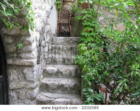 Old Stone Stairway Located In The Hillside Town Of Eze, French Riviera, France'