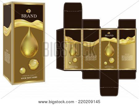 Packaging design, golden liquid cosmetic on luxury box design template and mockup box. illustration vector.