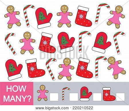 How many Christmas (new year) objects. Mathematical game for children. Learning numbers. Vector illustration.