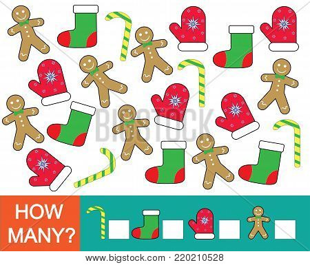 How many Christmas objects. Mathematical game for children. Learning numbers. Vector illustration.