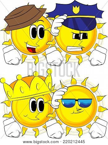 Cartoon sun comforting another sun. Collection with costume. Expressions vector set.