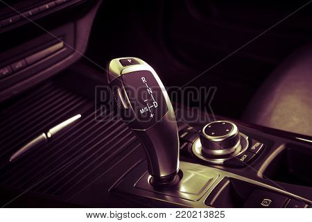 Modern car interior, Automatic transmission shift lever