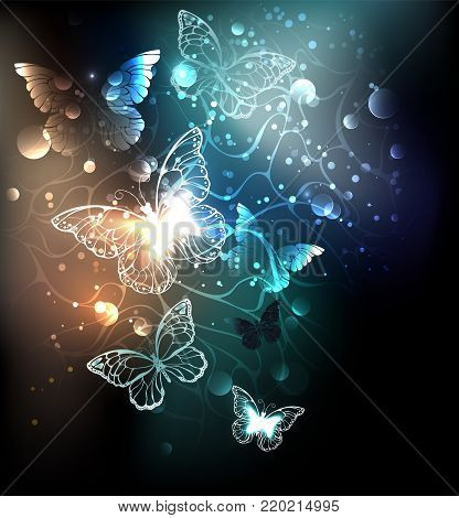 Night glowing butterflies on a luminous abstract background. Night butterflies. Design with butterflies.