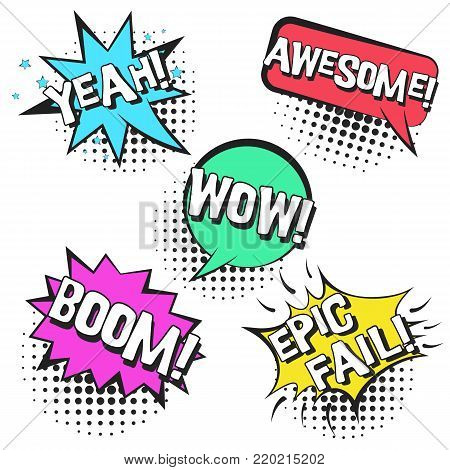 Bright contrast retro comic speech bubbles set with colorful YEAH, BOOM, WOW, AWESOME, EPIC FAIL. Black outline balloons with halftone shadow in pop art style for advertisement, comics book design