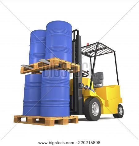 Forklift truck for industrial warehouse loads pallets with barrels on white background (3d illustration).