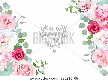 Sides wedding floral vector design frame. Rose, white peony, orchid, camellia, hydrangea, pink flowers, silver dollar eucalyptus leaves. Floral banner stripe elements. All elements are isolated