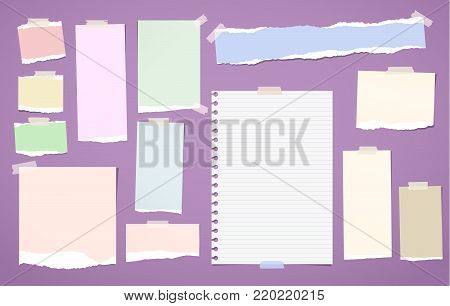 Ripped blank lined, colorful note, notebook paper strips, sheets stuck with sticky tape for text or message on violet background.