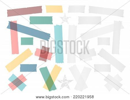 White and colorful different size adhesive, sticky tape, paper pieces with stars