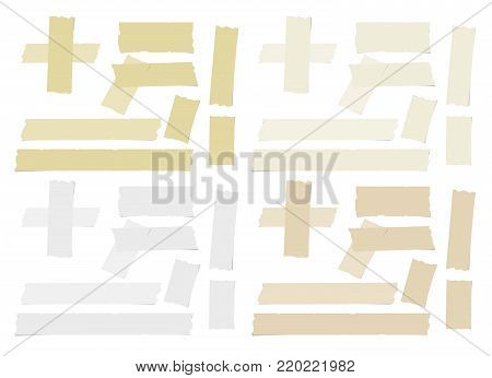White and brown different size adhesive, sticky tape, paper pieces