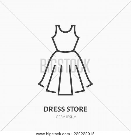 Dress store flat line icon. Women apparel, evening gown sign. Thin linear logo for clothing shop.