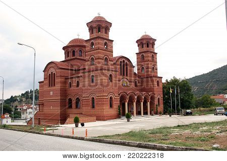 CHLOI, GREECE - SEPTEMBER 17, 2012: This is a modern Orthodox church of Agios Nikanoros, which is built in the traditional style of Greek church architecture.