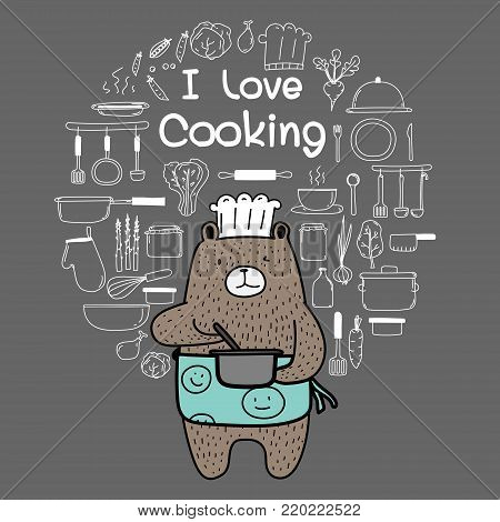 Bear Chef Is Cooking. Brown Bear Wearing An Blue Apron Say