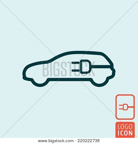 Electric vehicle power charging station. Electrical car cable charge symbol. Vector illustration.
