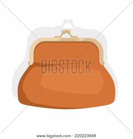 Purse on white background. Retro purse for coins. Purse flat icon. Vector illustration.