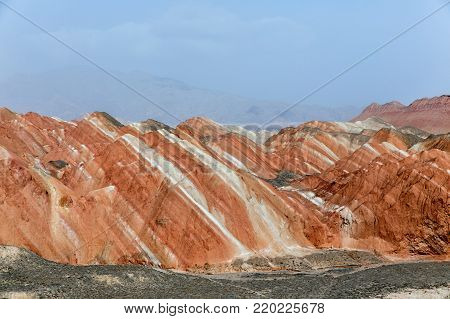Rainbow mountains in asian geopark at China as background