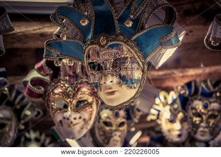 Venice, Italy - May 20, 2017: Traditional venetian masks. Venetian carnival is an annual costume festival, which attracts many tourists.