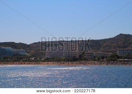 Faliraki In Rhodos Island In Greece, Europe