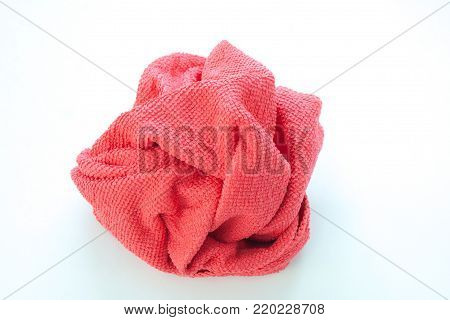 Close up new red wipes or rags isolated on white background. (Selective focus)