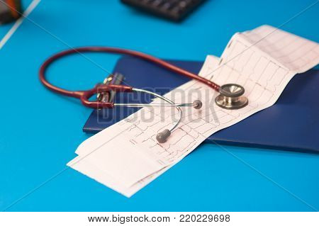 Electrocardiogram, cardiac cardiograph, conduct research and Stethoscope