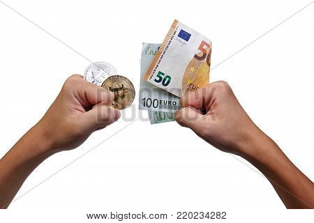 Hands Holding Bitcoin And Euro Banknote Up For Exchange, Financial, Business, Currency And Risk Conc