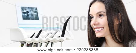 dental care concept, beautiful smiling woman on dentist clinic background with dentist's tools, web banner template