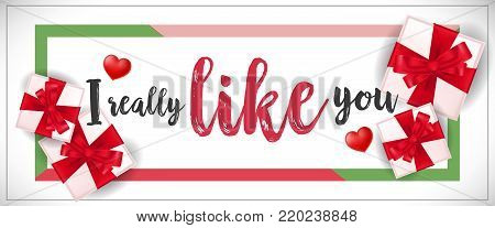 I really like you lettering in frame with gift boxes. Romantic inscription can be used for greeting cards, romantic messages, invitations, posters.