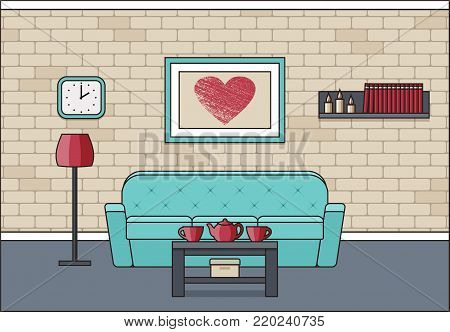 Room interior. Living room in line art flat design. Linear vector illustration. House equipment. Home space with sofa, coffee table and floor lamp. Cartoon furniture.