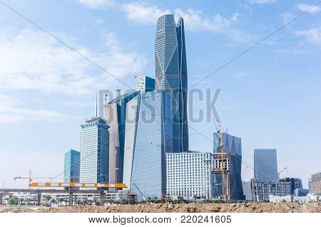 Riyadh, Saudi Arabia, KSA - December 02, 2017 new buildings being constructed in the new King Abdullah Financial District in Riyadh, skylines