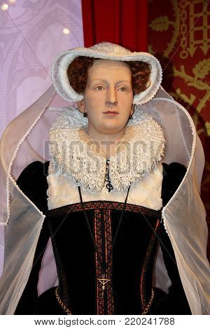 London, - United Kingdom, 08, July 2014. Madame Tussauds in London. Waxwork statue of Mary Queen of Scots