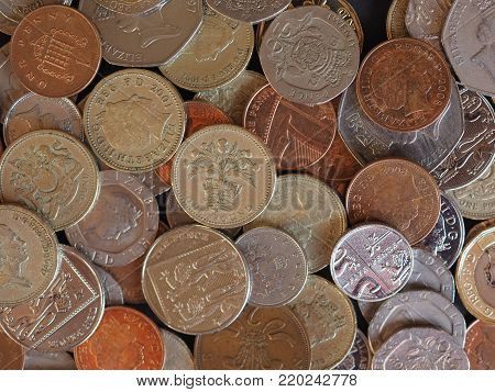LONDON, UK - CIRCA DECEMBER 2017: Pound coins money (GBP), currency of United Kingdom