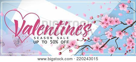 Valentines day, season sale, up to fifty percent off lettering with blossoming sakura. Calligraphic inscription can be used for greeting cards, festive design, posters, banners.