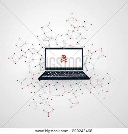 Network Vulnerability - Phishing, Hacker Attack - IT Security Concept Design, Vector illustration