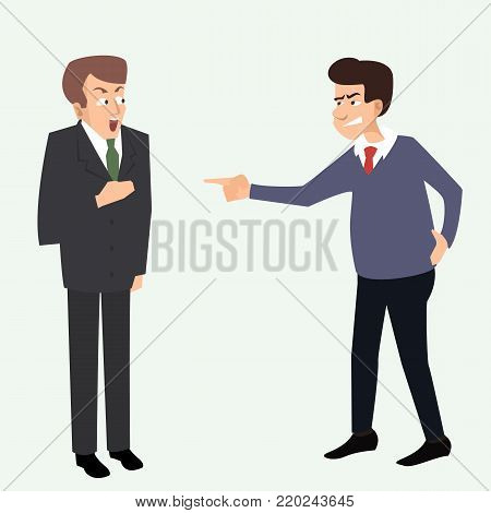 undeserved accusation, one man blames another - funny vector cartoon illustration in flat style