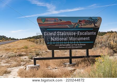 ESCALANTE, UTAH - OCTOBER 17, 2017: Grand Staircase-Escalante National Monument Sign along scenic highway route 12 in Utah