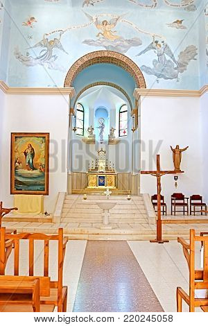 DEIR RAFAT, ISRAEL - SEPTEMBER 23, 2017: Interior of the church in the monastery of Dir Rafatt , also known as the Shrine of Our Lady Queen of Palestine and of the Holy Land