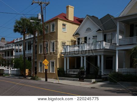 Old traditional colonial style homes along South Battery Street in historic Charleston, South Carolina