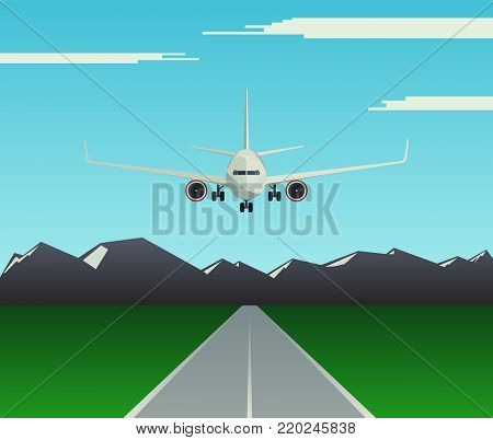 Landing a passenger plane on the runway. Aircraft flies low over the airfield. Front view of the aircraft. Vector illustration.