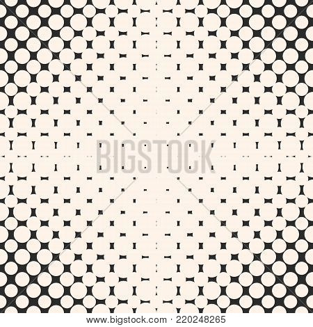 Vector geometric halftone dots pattern. Abstract seamless pattern with fading circles, dots, spots. Abstract texture with radial gradient transition, optical illusion effect, perforated surface. Repeat monochrome background texture for decor