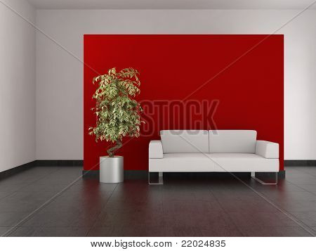 Modern Living Room With Red Wall And Tiled Floor