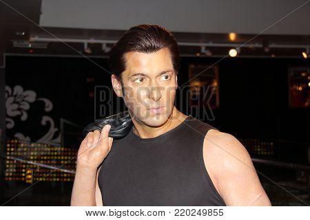 London, - United Kingdom, 08, July 2014. Madame Tussauds in London. Waxwork statues of Salman Khan.