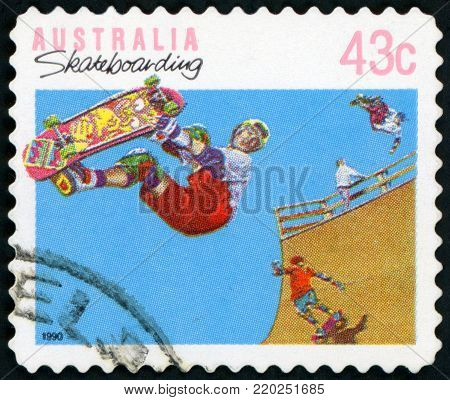 AUSTRALIA - CIRCA 1990: A used postage stamp from Australia, celebrating the leisure activity of Skateboarding, circa 1990.