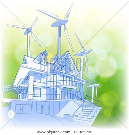 Ecology concept: house, wind-driven generators & ecology green bokeh background. Eps10