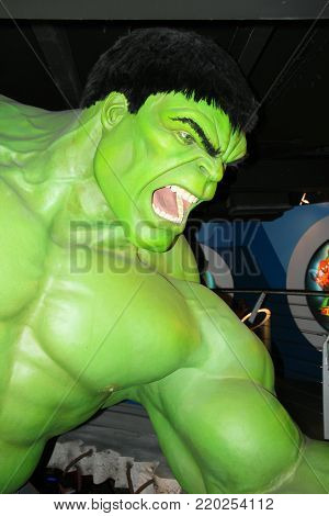 London, - United Kingdom, 08, July 2014. Madame Tussauds in London. Waxwork statue of The Incredible Hulk