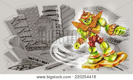 Robot Thai Giant flying live around the city landscape bird eye view pencil sketch, Cartoon acting character design is water color painting technique art illustration the hero hight technology concept, Has clipping paths of robot.