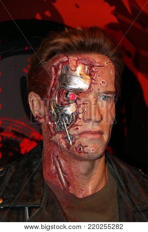 London, - United Kingdom, 08, July 2014. Madame Tussauds in London. Waxwork statue of Arnold Schwarzenegger.