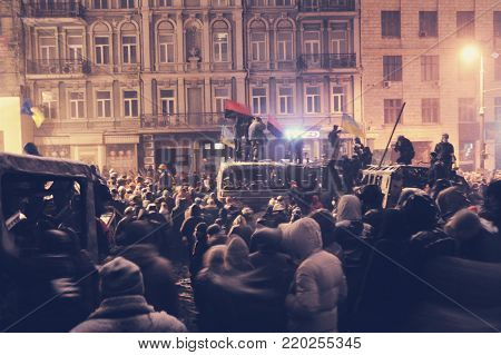 KYIV, UKRAINE - November 06, 2017:  Ukraine crisis. Ukraine Protests Barricades from Car Tires and Pavement Stone in Kyiv. Street fights in Kyiv, Ukraine. Ukraine crisis.  Soft focus.