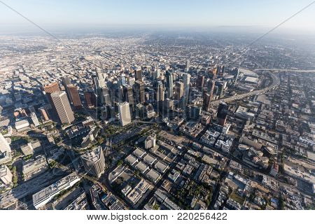 Los Angeles, California, USA - August 7, 2017:  Aerial view of downtown Los Angeles skyline and streets.