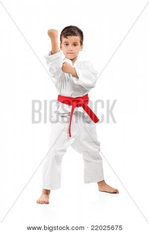 Full length portrait of a karate kid posing isolated on white background