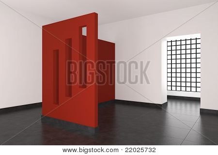 Modern Empty Interior With Red Wall And Windows